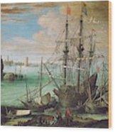 Coastal Landscape With Harbor  Wood Print