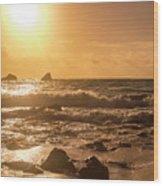 Coastal Sunrise Silhouette Wood Print