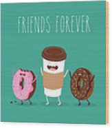 Coffee And Donuts Illustration. Vector Wood Print