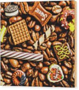 Coffee Candy Wood Print