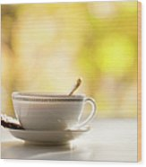Coffee Cup With Cookie, Still Life Wood Print