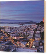 Coit Tower And North Beach At Dusk Wood Print