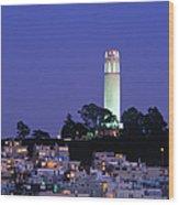 Coit Tower, Telegraph Hill At Dusk, San Wood Print