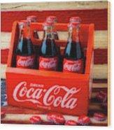Coke And American Flag Wood Print