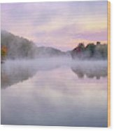 Cold Autumn Morning By A Lake Wood Print