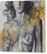 Colony Collapse Disorder - Gold - Nude Warrior Woman With Autumn Leaves Wood Print