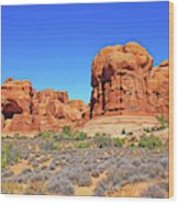Colorado Arches Park Landscape Scrub Red Rocks Blue Sky 3335 Wood Print