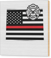 Colorado Firefighter Shield Thin Red Line Flag Wood Print