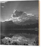 Colorado Mountain Lake In Black And White Wood Print