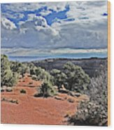Colorado National Monument Trees Rock Formations Clouds 3001 Wood Print