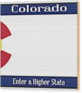 Colorado State License Plate Wood Print
