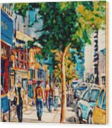 Colorful Cafe Painting Irish Pubs Bistros Bars Diners Delis Downtown C Spandau Montreal Eats         Wood Print