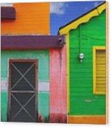 Colorful Caribbean Houses Tropical Wood Print