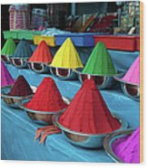 Colorful Dyes At Indian Market Wood Print