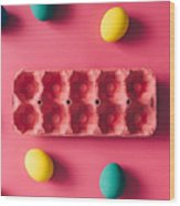 Colorful Easter Eggs On Pink Background Wood Print