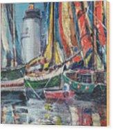 Colorful Harbor Wood Print