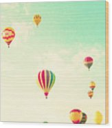 Colorful Hot Air Balloons In A Green Wood Print