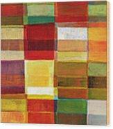 Colorful Painted Block Pattern Wood Print