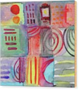 Colorful Patchwork 1- Art By Linda Woods Wood Print