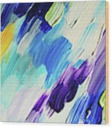 Colorful Rain Fragment 1. Abstract Painting Wood Print