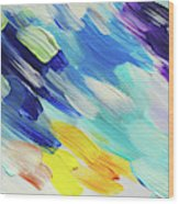 Colorful Rain Fragment 5. Abstract Painting Wood Print