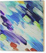 Colorful Rain Fragment 6. Abstract Painting Wood Print