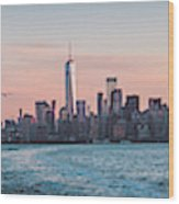 Colorful Sunrise Over The New York Skyline And The Statue Of Lib Wood Print