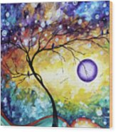 Colorful Whimsical Original Landscape Tree Painting Purple Reign By Megan Duncanson Wood Print