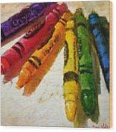 Colorwheel Crayons Wood Print