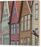 Colourful Houses In A Row Wood Print