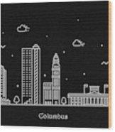 Columbus Skyline Travel Poster Wood Print
