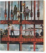 Construction Workers On Site Wood Print