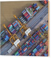 Container Ship In Import Export Wood Print