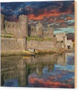 Conwy Castle Sunset Wood Print