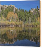 Cool Calm Rocky Mountains Autumn Reflections Wood Print