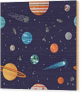 Cool Galaxy Planets And Stars Space Wood Print
