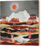 Coral Desert Lake Wood Print
