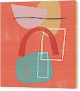 Coral Modern Abstract 2- Art By Linda Woods Wood Print