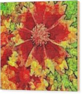 Coreopsis Abstract Wood Print