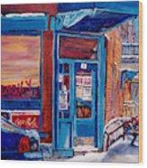 Corner Cafe Clark And Fairmount Wilensky's Winter Scene Habs Hockey Art C Spandau Quebec Artist Wood Print