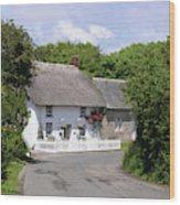 Cornish Thatched Cottage Wood Print