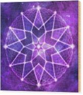 Cosmic Purple Geometric Seed Of Life Crystal Lotus Star Mandala Wood Print