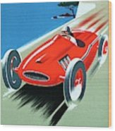 Cote D Azur, French Rivera Vintage Racing Poster Wood Print