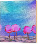 Cotton Candy Trees Wood Print