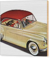 Couple In Car With Scotty Dog Wood Print