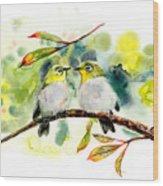 Couple Of Little Green Birdies Wood Print