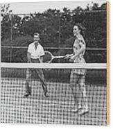 Couple Playing Tennis Wood Print