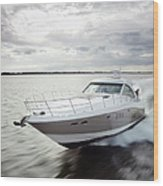 Couple Relaxing On Speed Boat, Dawn Wood Print