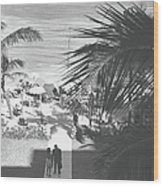 Couple Walking In Path Towards Beach Wood Print