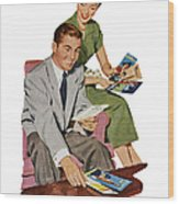 Couple With Travel Brochures Wood Print